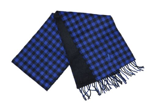 Polo Ralph Lauren Men Big Pony/Plaid Lambs Wool Reversible Winter Scarf - Made in Italy (One size, Black/royal (Big Pony Lambswool)