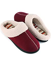 Women's Comfort Memory Foam Slippers with Warm Fleece Lining and Wool-Like Collar, Casual Micro Suede Slip on Clog Mule House Shoes with Indoor Outdoor Anti-Skid Hard Rubber Sole