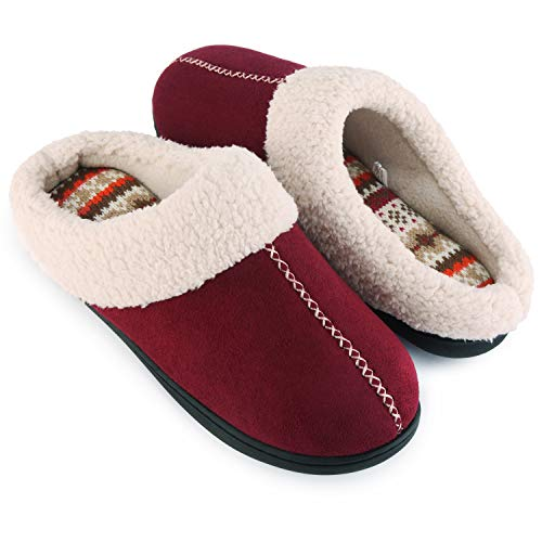 ULTRAIDEAS Women's Comfort Memory Foam Slippers with Warm Fleece Lining and Wool-Like Collar, Casual Micro Suede Slip on House Shoes with Indoor Outdoor Anti-Skid Rubber Sole, Wine, Size 7-8(Medium)