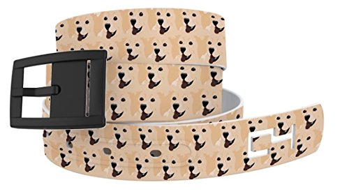 C4 Belts Golden Retriever Dog Heads Classic Belt with Black Buckle - Fashion Belt For Dog Lovers - Waist Belt for Women and (Golden Retriever Belt)