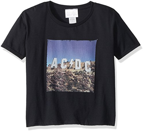 AC/DC Little Boys' ACDC Hollywood Sign Short Sleeve T-Shirt, Black, 5/6