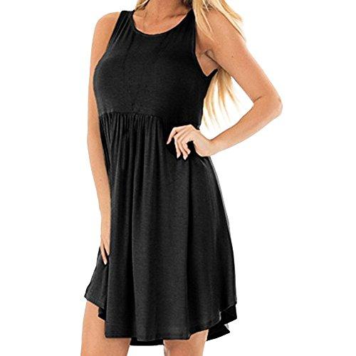 Women's Dress Clearance Sale,Farjing Women's Casual Solid O-Neck Simple Sleeveless Ruffled T-Shirt Loose Camis Dress(M,Black)