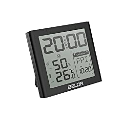 Indoor Thermometer Hygrometer Snooze Alarm Clocks, Portable Temperature Humidity Meter Max/Min Record Travel Clocks Calendar (Black)