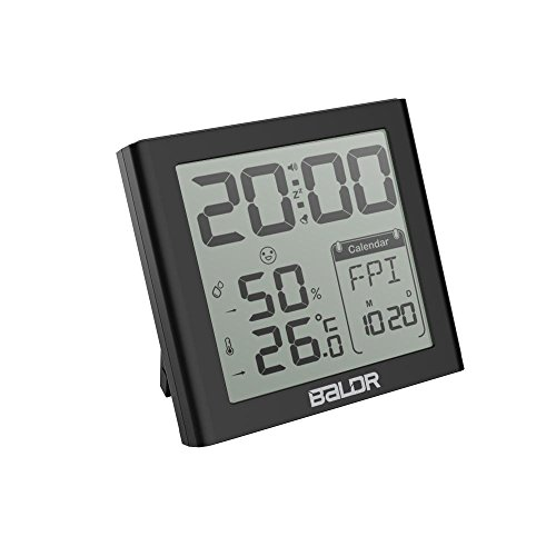 Indoor Thermometer Hygrometer Snooze Alarm Clocks, Portable Temperature Humidity Meter Max/Min Record Travel Clocks Calendar (Black) by BALDR