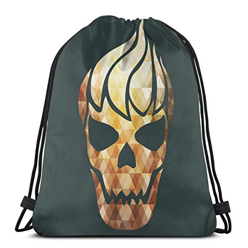 Printed Drawstring Backpacks Bags,Gothic Skull With Fractal Effects In Fire Evil Halloween Concept,Adjustable String Closure]()