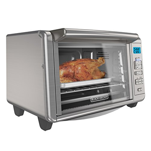 BLACK+DECKER 6-Slice Digital Convection Countertop Toaster Oven, Includes Bake Pan, Broil Rack & Toasting Rack, Stainless Steel, TO3280SSD