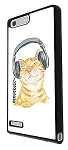 951 - Cool cute fun illustration cat kitten headphone cat doodle feline funny kawaii love pet Design For Huawei Ascend P7 Mini Fashion Trend CASE Back COVER Plastic&Thin Metal - Black