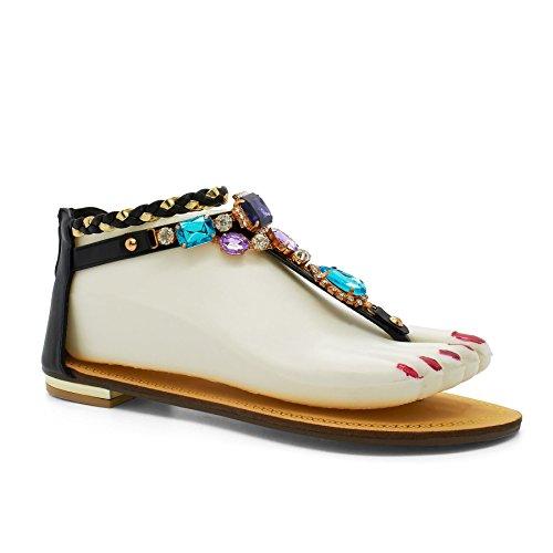Noir femme Footwear en London noir Barre T XzZ4Aq