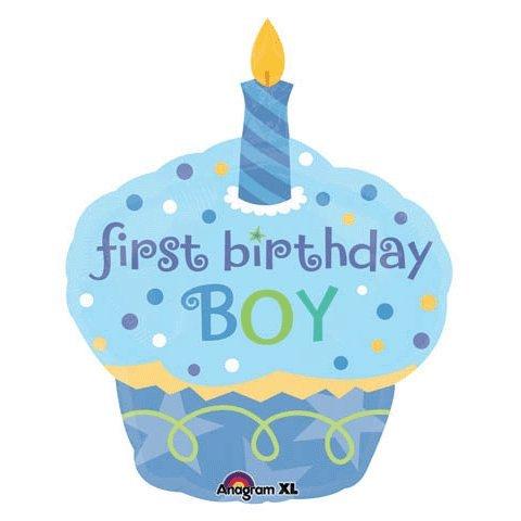 Sweet Little Cupcake Boy 1st Birthday Supershape Mylar Balloon
