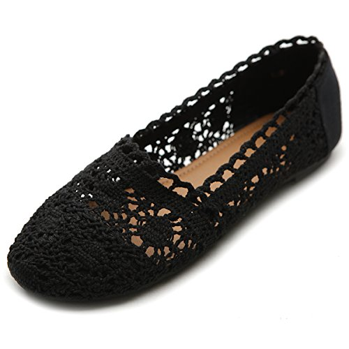 Ollio Womens Shoe Lace Ballet Breathable Flat(7 B(M) US, Black)