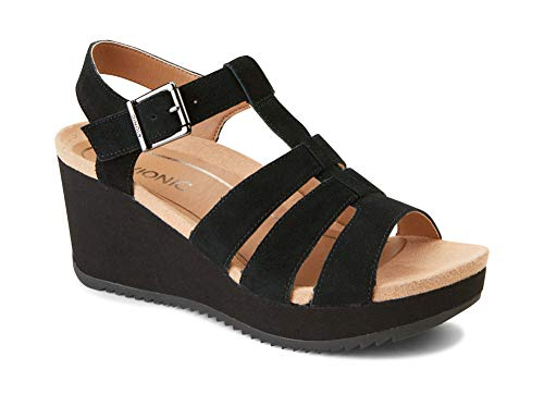 Vionic Women's Hoola Tawny T-Strap Wedge - Ladies Platform Sandal with Concealed Orthotic Arch Support Black Suede 9.5 M US