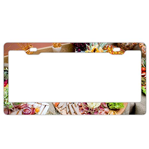 Table Fruits Vegetables Dishes Exotic Customized License Plate Frame Tag Holder 2 Holes US Plate Covers