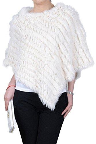 VamJump Women Winter Real Rabbit Fur Pullover Banket Poncho Cape Shawl - Rabbit Poncho
