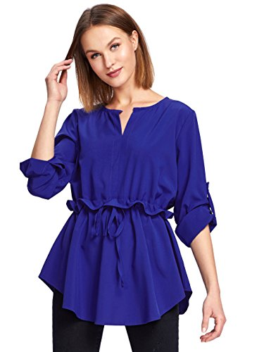 Milumia Women's Ruffle Slim Drawstring Waist Casual Tunic Blouse Medium Royal Blue