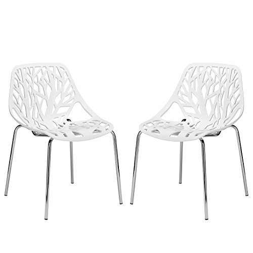 Poly and Bark Birds Nest Dining Side Chair, White, Set of 2 - Funky Modern Chair