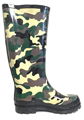 G4U Womens Rain Boots Multiple Styles Color Mid Calf Wellies Buckle Fashion Rubber Knee High Snow Shoes Camo pwXpz