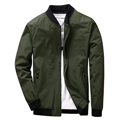 Earlish Men's Long Sleeve Slim Fit Lightweight Bike Motocycle Cotton Bomber Jacket, Army Green, TagsizeXXXL=USsizeXL