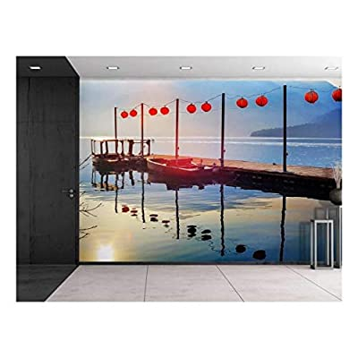 Lanterns on a Bridge Over a Lake with Boats by The Side - Wall Mural, Removable Sticker, Home Decor - 100x144 inches