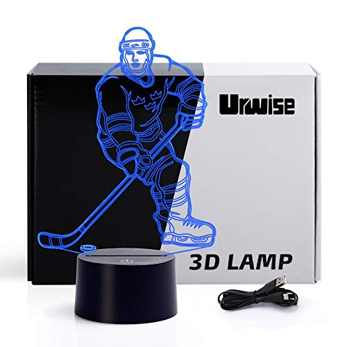 Ice Hockey 3D Illusion Night Light Touch Table Desk Lamp, 7 Colors Optical USB LED Nightlight 3661