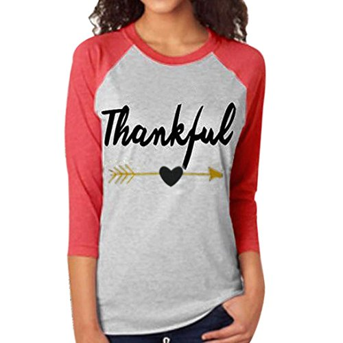 FAPIZI ♥ Women Blouse ♥ Women Tee Letter Arrow Printed Three Quarter Sleeve Splicing Top T-Shirt (XXXL, (Sexy Thanksgiving Pictures)