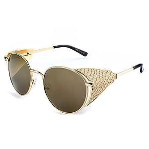 Nuni Metal Snakeskin Embossed Side Shield Round Sunglasses Goggles (gold+brown side, brown)