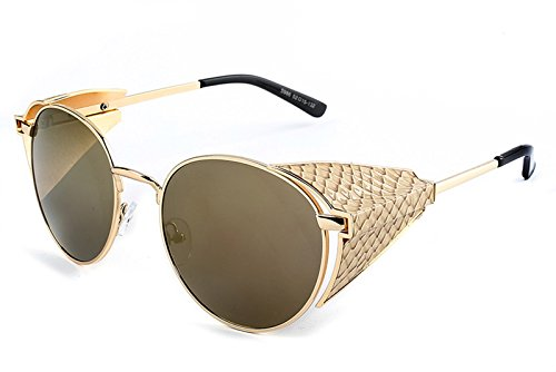 Chezi Metal Snakeskin Embossed Side Shield Round Sunglasses Goggles (gold+brown side, - Shield Side Sunglasses Leather