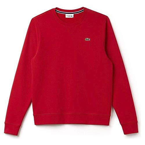 Lacoste Men's Brushed Fleece Crew Neck Sweatshirt, Lighthouse Red,L - US