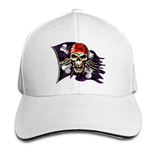 EDGG Jolly Roger Pirate Flag Unisex Baseball Cap Golf Hats Plain Cap (8+ Colors) White