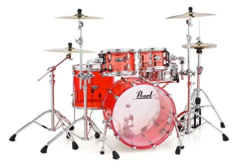8 Piece Double Bass Shell - Pearl CRB524P/C731 Crystal Beat 4 Piece Shell Pack, Ruby Red (Cymbals/Hardware Sold Separately)