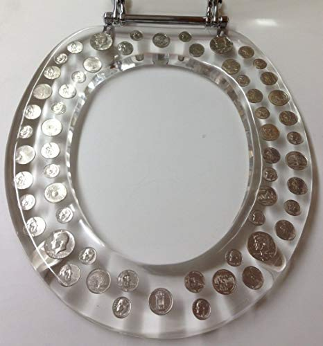 REAL U.S. DOLLARS & COINS MONEY LUCITE RESIN TOILET SEAT (Elongated) by POP VIEW (Image #3)