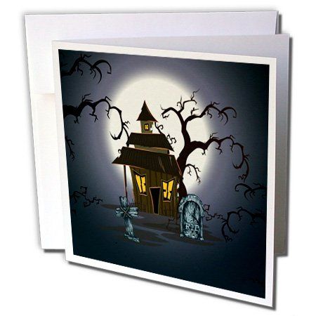 Halloween Haunted House, Gravestones and Spooky Trees - Greeting Cards, 6 x 6 inches, set of 12 -