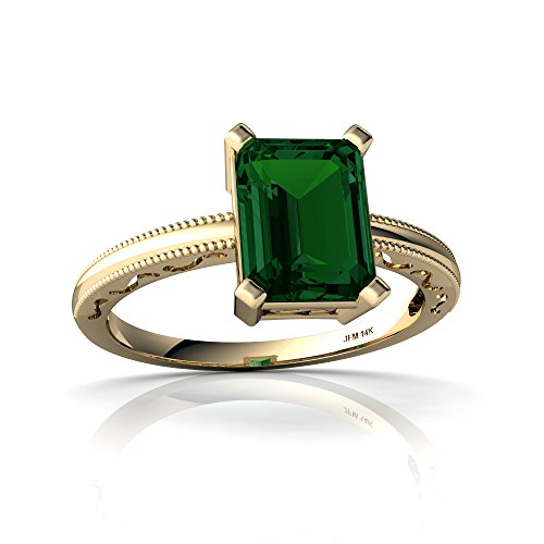 14kt Yellow Gold Lab Emerald 8x6mm Emerald_Cut Milgrain Scroll Ring - Size 8 ()