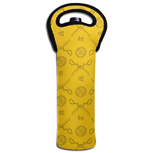 Price comparison product image NO4LRM Tailor Scissors Buttons Unique Design Neoprene Wine Beverages 1-Bottle Tote Bag Cold Keeper with Secure Soft-Grip Handles,  Lightweight and Durable