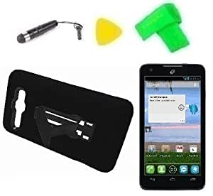 Heavy Duty Hybrid Phone Case Cover Cell Phone Accessory + Extreme Band + Stylus Pen + Lcd Screen Protector + Yellow Pry Tool For Straight Talk Alcatel One Touch Sonic A851L (Black/Black)