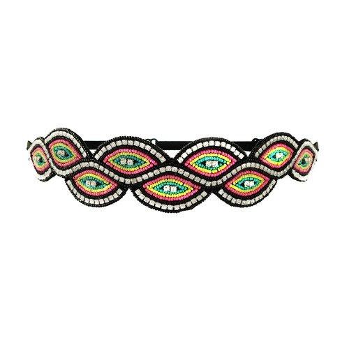 Tassel Paulista Headband, Black Neon