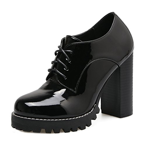 Dear Time Sexy High Heels PU Patent Leather Women Dress Brogue Oxfords Shoes Black US (Sexy Wingtip Shoes)