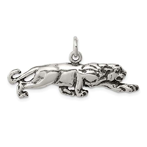 925 Sterling Silver Panther Pendant Charm Necklace Animal Lion Tiger Man Fine Jewelry Gift For Dad Mens For Him ()