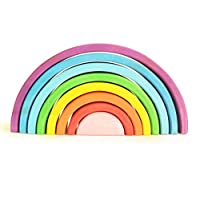 WOODEN TOYS RAINBOW STACKER Montessori Waldorf Stacking Game Learning Toy Creative Educational Toys for Kids Baby Toddlers Nesting Puzzle Building Blocks Stacking & Nesting Rainbow Tunnel Stacker Toy