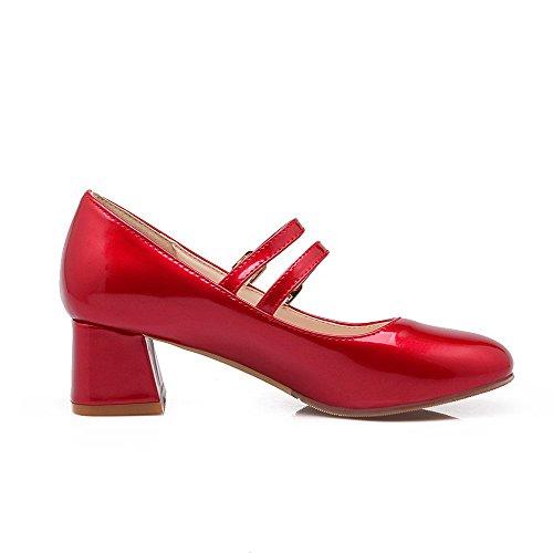 Damen Schnüren Niedriger Absatz PU Leder Gemischte Farbe Rund Zehe Pumps Schuhe, Rot, 32 VogueZone009