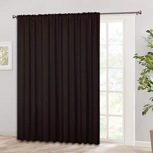 RYB HOME Vertical Blind for Inside Patio/High Ceiling Window, Back Tab & Rod Pocket Hanging Options, Extra Wide Curtain for Living Room/Office/Slider Door, Wide 100 in x Long 84 in, Brown