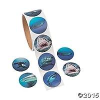 200 Realistic SHARK Stickers - COOL Photo SHARKS (2 Rolls of 100) Party Teacher Classroom ACTIVITY - SCIENCE NATURE OCEAN Shark Week