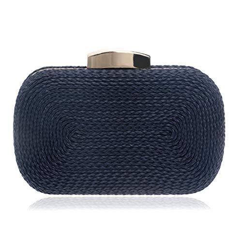 Teléfono Tejido Blue Honneury Rectangular Paquete De Silver Mano Bolso color Partido Unisex Pu Minimalista Celular Noche Dark q11xTpwXg
