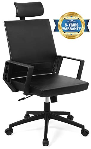 YOUNBO Leather Memory Foam Office Chair - Ergonomic Lumbar Support Adjustable Computer Desk Chair Tilt Angle Reclining High Back Executive Comfort Home Office Chair with Armrest & Headrest, Black