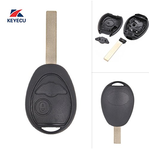 Keyecu Replacement Remote Key Shell Case Fob 2 Button for BMW Mini Cooper S R50 R53 2002-2005 (Shell Only)