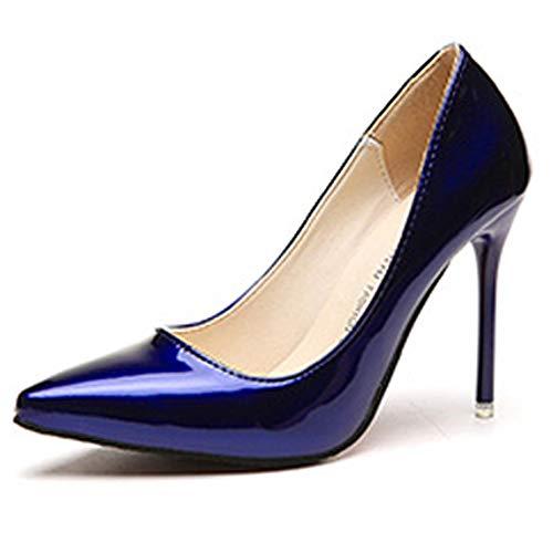 Blu10 Colore Scarpe In Rosso Da Tacco Sposa Donna Alto Barca Vino Verniciata Pelle Décolleté Blu qr6vqxC