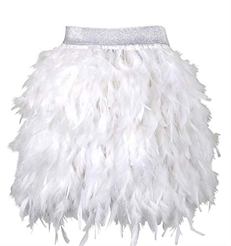 L'VOW Women's Sexy Mid Waist Mini A-line Feather Skirt for Party Wedding Halloween (White, S)
