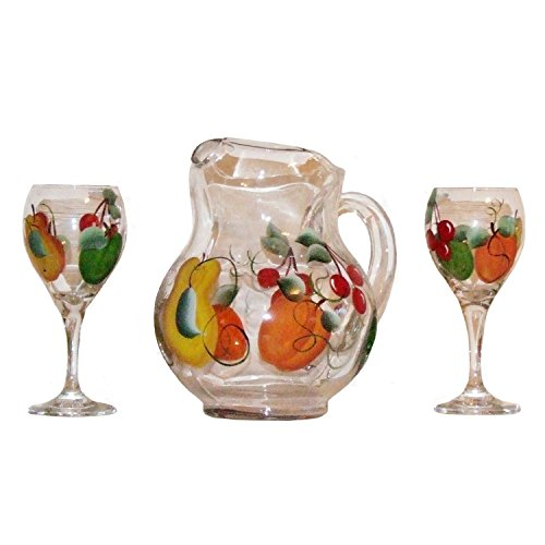 3-Piece Sangria Set. Glasses & Matching Pitcher in Fruit Design. Hand Painted. by ArtisanStreet