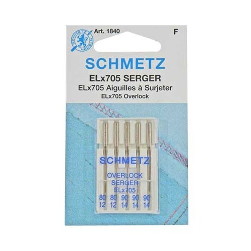 5PK SCHMETZ SERGER OVERLOCK ELX705 SEWING MACHINE NEEDLES - ASSORTED SIZES