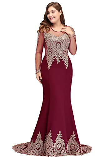 - Women Plus Size Applique Long Sleeve Mermaid Evening Dress Formal Burgundy 24W
