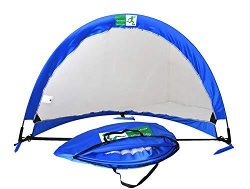 GreEco Pop Up Soccer Goal - Set of 2, Two Portable Soccer Nets & Bag, 2.5FT Blue x White